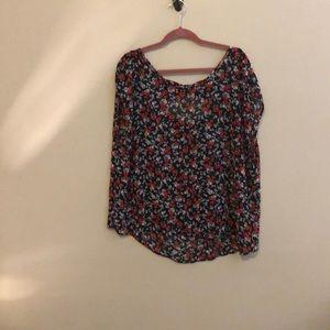 Skull and floral sheer shirt